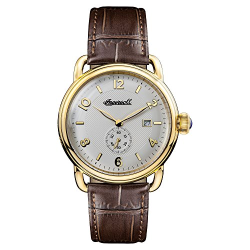 Ingersoll Men's The New England Quartz Watch with White Dial and Brown Leather Strap I00803