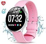 GOKOO Montre Connectée Femmes Smartwatch Etanche Montre Intelligente Femme Cardiofréquencemètre Podomètre Cardio Fonction Physiologique Féminine Bracelet Cuir Montre Sport pour Android iOS (Rose)