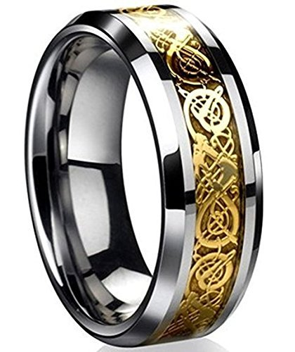 8mm Tungsten Carbide Ring Silvering Celtic Dragon Blue Carbon Fibre Inlay Wedding Band Size 6-13 (10, Gold)
