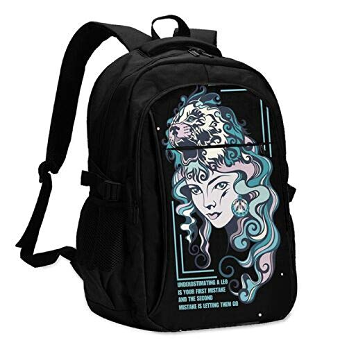 WSZOK Backpack Wolf Girl Travel Laptop Backpack Stylish College Backpack With Usb Charging Port Repellent Rucksack Daypack For School/Business/Work Black