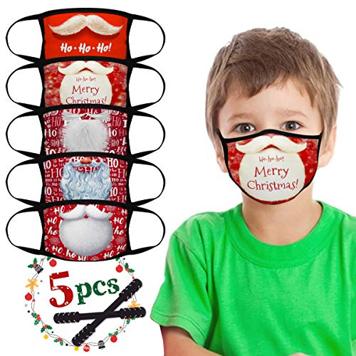 Kids Reusable Face Mask, 5pcs Christmas Washable Face Mask with 2 Adjustable Mask Extender Strap, Elementary School Students Cloth Face Mask, 2 Layers Face Cover for Boys Girls Teens Ages 4-12