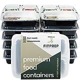 FITPREP - DAS ORIGINAL-10er Pack- 3-Fach Meal Prep Boxen- für Meal Prep empfohlen- inkl. Rezeptheft, Zertifiziert BPA frei