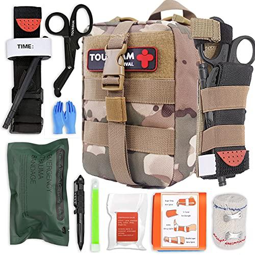 TOUROAM IFAK - Kit de primeros auxilios para traumas, bolsa Micro Rip Away Molle Med, bolsa médica táctica pequeña completamente surtida con torniquete para camping militar, senderismo
