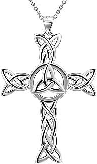Irish Celtic Knot Cross Necklace 925 Sterling Silver Infinity Celtick Jesus Cross Pendant Necklace Women Men Heart Rose Cross Necklace Religious Jewelry for Wife Girlfriend