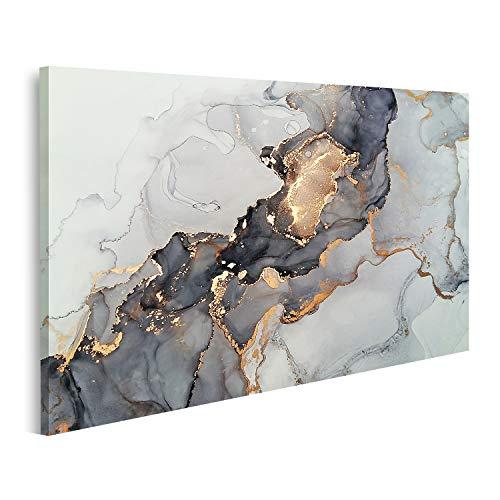Bild auf Leinwand Luxus Abstrakt Fluid Art Grün Gold Wandbild Poster Leinwandbild Bilder GJIU