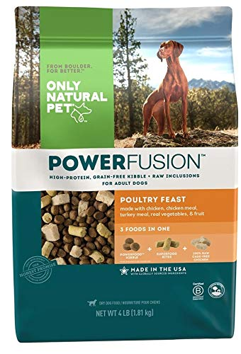 Only Natural Pet Powerfusion Raw Infused Grain Free Dog Food, High Protein All-Natural Whole, Fresh Ingredients & 100% Raw Meat Bites, (Poultry Feast 4 lb)