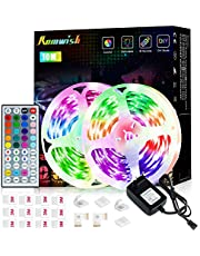 LED Strip Lights 10M Romwish Flexible Color Change LED Strip Lights for Bedrooms, 5050Rgb Led Tape Lights with 44-Key IR Remote Control, 24v Power Supply RGB LED Light for Room, Bar, TV, Kitchen, Party