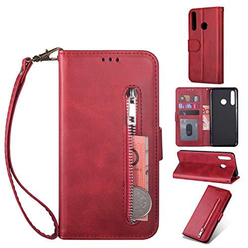 Yobby Hülle für Huawei Honor 10 Lite/P Smart 2019,Red Handyhülle,PU Leder Reißverschluss Brieftasche mit Kartenfach und Handschlaufe,Klappbar Magnet Ständer Stoßfeste Schutzhülle