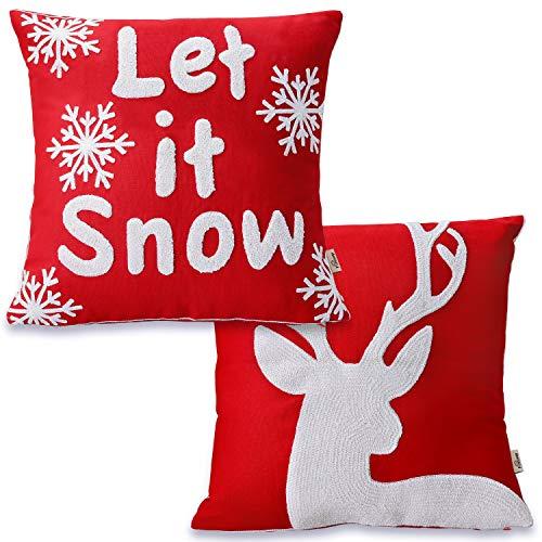 FOOZOUP - Juego de 2 fundas de almohada navideñas con bordado rojo y blanco copos de nieve para casa de campo, invierno, vacaciones, sofá, sala de estar, 45,7 x 45,7 cm