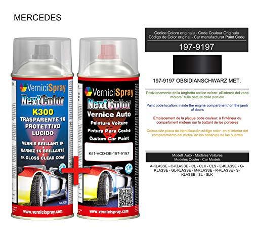 Kit Spray Pintura Coche Aerosol 197-9197 OBSIDIANSCHWARZ MET. - Kit de retoque de pintura carrocería en spray 400 ml producido por VerniciSpray