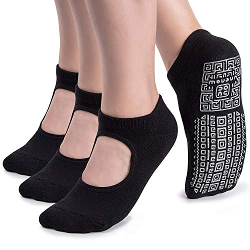 Calcetines de yoga antideslizantes para mujer con cojín para pilates, barre, casa,...