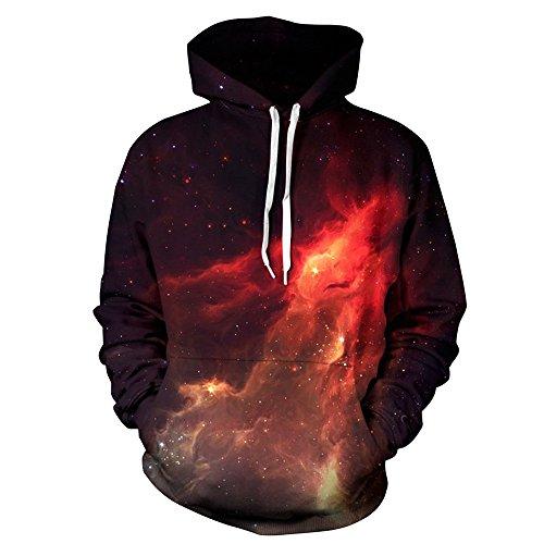 Preisvergleich Produktbild TANGNIU 3D Druck Hoodie gedruckt bunten Sweatshirt Langarm Pullover Kordelzug Pullover Starry Sky-XXL