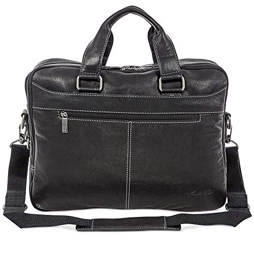 """Kenneth Cole """"Take The Op-Port-unity"""" Leather Double Gusset 15.6″ Laptop Briefcase (Black)"""