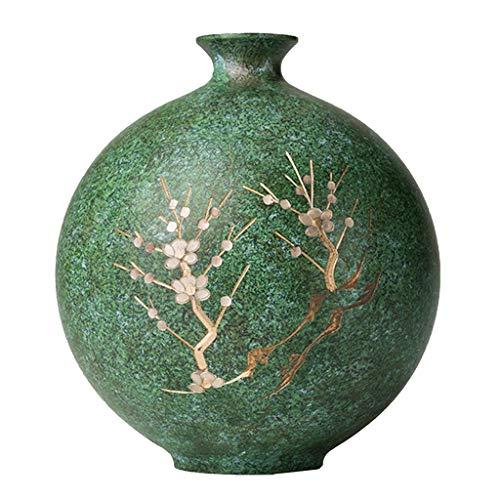 Vasen Kupfer Bodenvase Blumenvase Schlafzimmerdekoration Wohnzimmertischdekorationen (Color : Green, Size : 17 * 15cm)