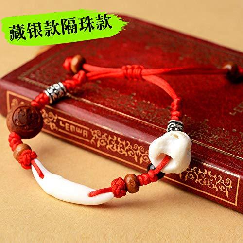 Pulsera de madera de melocotón bebé infantil niño pulsera de hilo rojo cinabrio diente de perro melocotón madera melocotón zodiaco cerdo hueso de choque-Cuentas de plata tibetana N5 (nota del zodíaco)