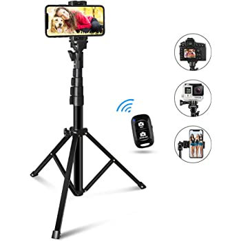 60-inch Selfie Stick Tripod, UBeeszie Extendable Cell Phone Tripod Stand with Wireless Remote Shutter, Compatible with iPhone, Android, DSLR, Action Camera.