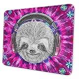 Gaming Mouse Pad DJ Sloth Portrait mit Kopfhörern Lustige Krawatten-Rechteck rutschfeste Gummi-Mousepad-Matte für Computer-Laptop 25 x 30 cm