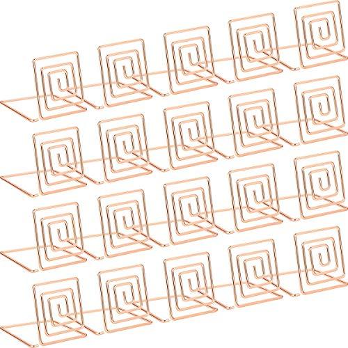 メモホルダー メモクリップ カードスタンド クリップホルダー 金属製 メモ/写真/名刺/カードを固定できる 結婚式 レストラン用 カード立て テーブル番号ホルダー 卓上 装飾 20個セット (ローズゴールド) …