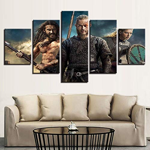 QYY 5 Pieces Wall Art Pictures Modern Homes Decor Canvas HD Prints Vikings Paintings Livings Room TV Series Posters Modular Bedroom