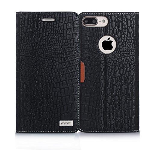 iPhone 8 Plus Case,iPhone 7 Plus Case, WWW [Crocodile Pattern] RFID-Resisting Premium PU Leather Wallet Case Flip Phone Case Cover with Card Slots for iPhone 7 Plus/8 Plus Black