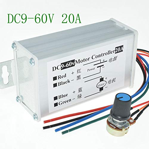 RUIZHI DC Motor Controller 9-60 V Hochleistungs-PWM-Steuerschalter Motordrehzahlregler DC 12 V 24 V 36 V 48 V 60 V 20 A 1200 W