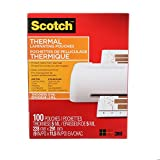 "Scotch Thermal Laminating Sheets, 9"" x 11.5"", 5-Mil Thick, 100 Laminating Pouches"
