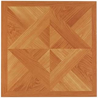 NEXUS 12x12 Self Adhesive Vinyl Floor Tile - 20 Tiles/20 Sq.Ft. (Classic Light Oak Diamond Parquet)