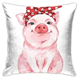 Funda de cojín Throw Cojín Throw Pillow Case Pink Farm Divertido Cerdo Lindo Bebé Acuarela Pintura Cochinillo Kawaii Funda de Almohada 45X45CM