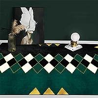 モダンエリアラグレトログリーンブラックゴールド菱形幾何学的ステッチラグ寝室用ベッドサイドリビングルームキッチンフロア滑り止めウォッシャブルマットカーペット