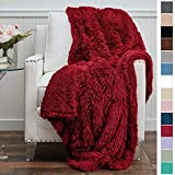 The Connecticut Home Company Shag with Sherpa Reversible Throw Blanket, Super Soft, Large Plush Wrinkle Resistant Blankets, Warm and Hypoallergenic Washable Couch or Bed Throws, 65x50, Merlot