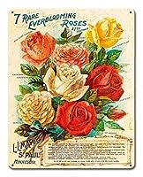なまけ者雑貨屋 アメリカン 雑貨 ナンバープレート [Vintage Roses ] ヴィンテージ風 ライセンスプレート メタルプレート ブリキ 看板 アンティーク レトロ