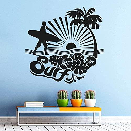 Pegatina de pared de surf, cartel de pared de vinilo de palmera de mar, calcomanía de pared de palmera de mar, regalo para amantes del surf, Mural de tabla de surf 57X57Cm
