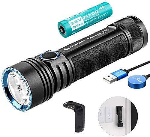OLIGHT Seeker 2 PRO Wiederaufladbare Taschenlampe 3200 Lumen, 3xLEDs Taschenlampe extrem hell, Reichweite bis zu 250 Meters, 5000mAh 21700 Batterie, 5 Beleuchtungsmodi, Komplettes Zubehör