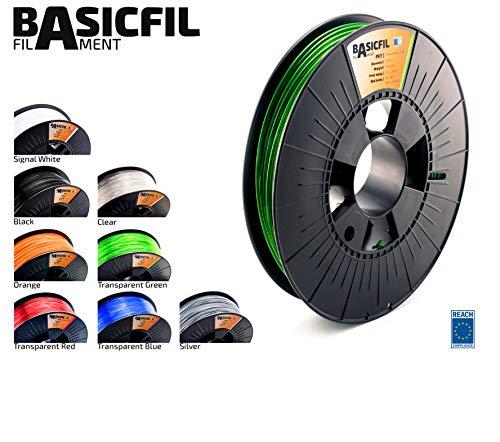 BASICFIL PET  2.85mm, 500 gr, 3D printing filament , Transparent Green
