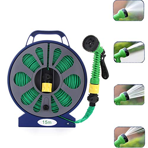 50Ft Manual Garden Hose Reel,Portable Flat Garden Hose Kit Includes Easy Hose Reel and Spray Nozzle with 7 Settings Compact Water Pipe for Garden, Watering Lawn