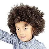 Kid Best Gift ! Creazy Party Disco Funny Afro Clown Hair Football Fan-Kids Afro Masquerade Hair Wig  (Gold)