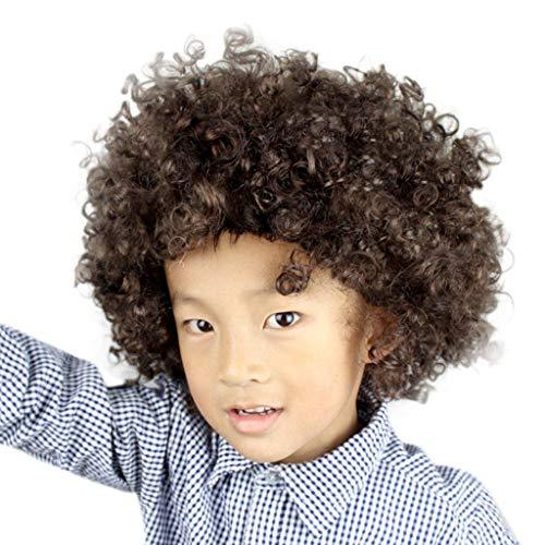 Lazzboy Maskerade Haar Party Disco Lustige Afro Clown Haar Fußball Fan-Kinder Afro Perücke(M,Mehrfarbig K)