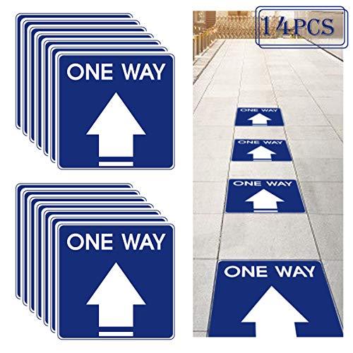 14pcs Directional Arrow Floor Sign- 11' Square Removable Adhesive One Way Floor Stickers Waterproof Social Distancing Floor Decals Anti-Slip Arrow Markers for Floor Crowd Direction Guidance (Navy)