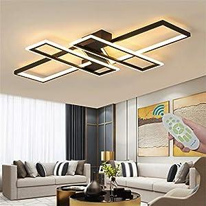 Modern LED Ceiling Lights, Black Dimmable Chandelier, Rectangular, with Remote Control, Diningroom Lamp, Flush Mount Geometric Light Fixture Ceiling Lighting for Bedroom Living Room (35.4IN)