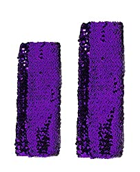 Purple Sequins Arm Sleeve Performance Costume Cuffs