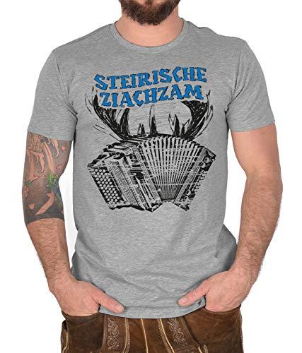 Trachten-Shirt Herren Hirsch Motiv T-Shirt Steirische Ziachzam Tracht Trachtenshirt Trachtenmotiv zur Lederhose Heimat Landliebe