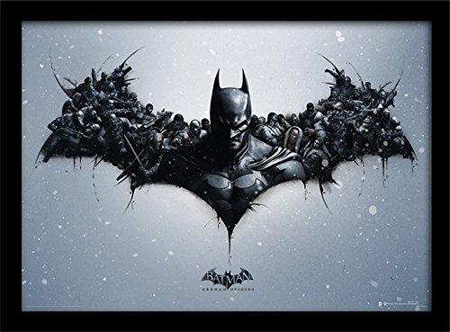 30 x 40 cm Batman Arkham Origins  logo  impresión enmarcada