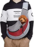 Pecco Pet Carrier Hand Free Sling for Dog Cat Puppy Carry Bag Small Pet Traverl Carrier with Breathable Mesh Pouch for Outdoor Travel Walking Subway 12LB (Red)