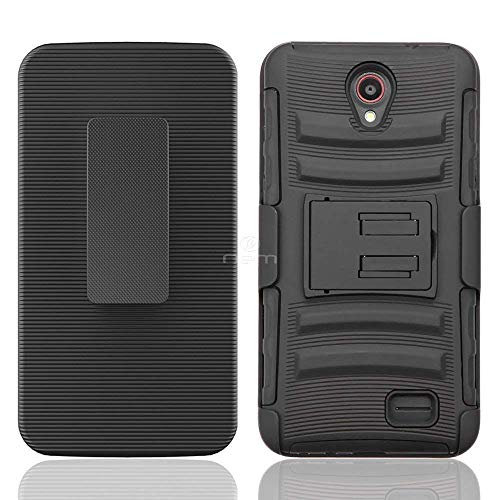 Luckind Case Compatible with Samsung Galaxy Mega 6.3, GT-I9200 I9205 i527 (AT&T, Sprint, MetroPCS, U.S. Cellular). Dual Layer Hybrid Side Kickstand Cover Case with Holster Clip (Holster Black)