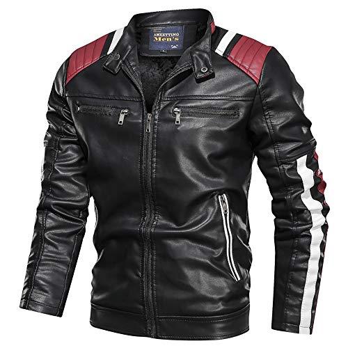 Chaquetas de Moto para Hombre Ropa de OtoñO e Invierno Cuello Alto de Longitud Media Cuatro Bolsillos Chaquetas de Cuero para Moto para Hombre, Compra una Talla más Grande
