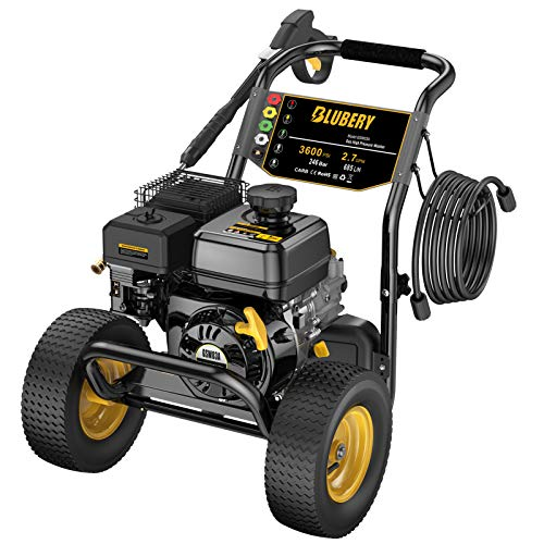 BLUBERY 3600 PSI Gas Pressure Washer, 2.7 GPM Heavy Duty Power Washer, 50Ft High Pressure Hose&Soap Tank, 5 Adjustable Nozzles, CARB Compliant