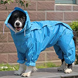 KUANDARMX Dog raincoat hooded raincoat dog clothes pet raincoat medium and large dog waterproof and easy to clean