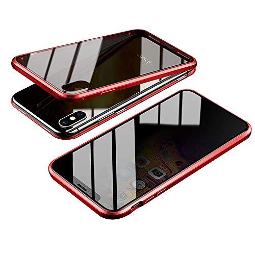 Jonwelsy Anti-Spy Funda para iPhone XS/X (5,8 Pulgada), 360 Grados Proteccion Case, Privacidad Vidrio Templado Anti espía Cover, Adsorción Magnética Metal Bumper Cubierta para iPhone X/XS (Rojo)