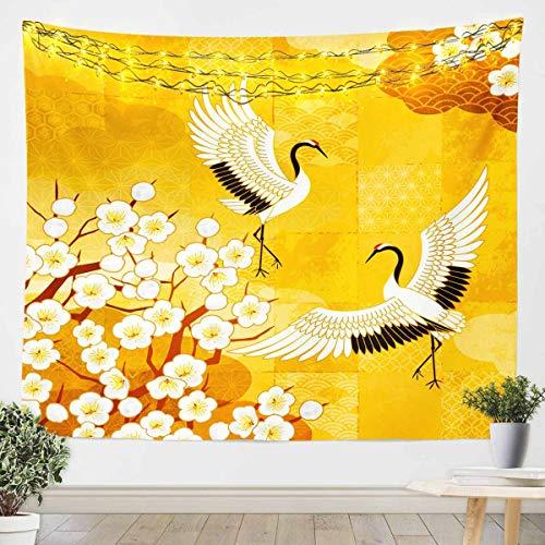 Tapiz japonés Ukiyoe para niñas y niños, manta de pared floral Hokusai para colgar en la pared, estilo japonés, manta de cama amarilla mediana 128 x 152 cm