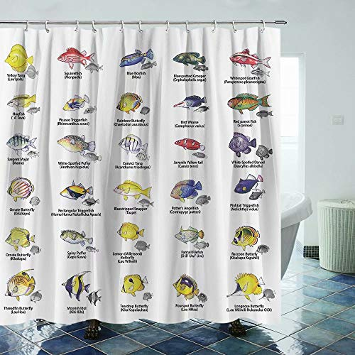 Tropical Fish Shower Curtain Ocean Fabric Shower Curtain with Hooks Bathroom Curtain Sets Bathroom Decoration 69x70Inches